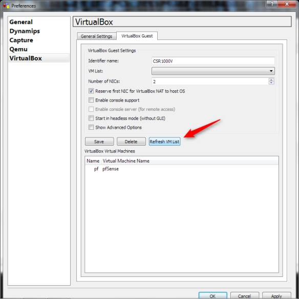 Using the Cisco CSR1000V in GNS3 With VirtualBox | Herding Packets